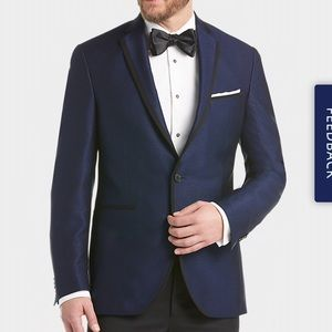 Kenneth Cole navy blue tuxedo suit blazer jacket